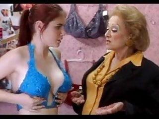 Lingerie Celebrities Big Tits video: Lindsay Felton - Size Em Up Bra Scene