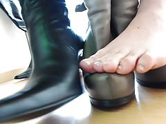 cuir plateua bottes abus pieds nus