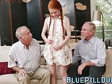 Ginger teen with small tits dicked and toyed by old guy