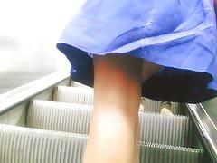 Upskirt on escalator 2