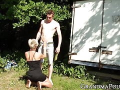 Glam Grandma Orally Working On Edible Youthful Dick