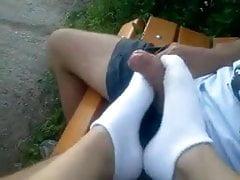 Footjob in calze moda