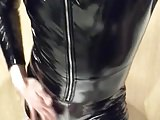 Porno video: Playing in my black pvc body, nylons and plastic wrap I