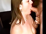 Cumshots Amateur porno: Sucking cock, getting a nice load on my face and tits