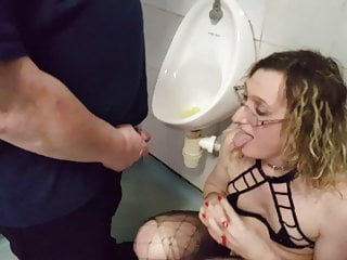 British Lingerie Blonde video: Blonde British Girl Being Pissed On by Urinal Lisa and John