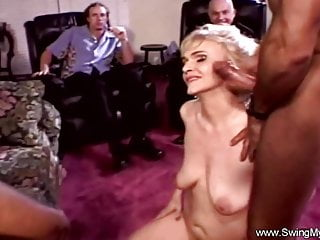 Group Sex Cuckold Swingers video: Trashy Blonde Swinger Threesome