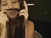 Brunette Girl with Smoking
