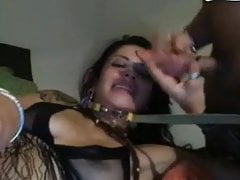 Wife in neck chain and husband jerking off to her