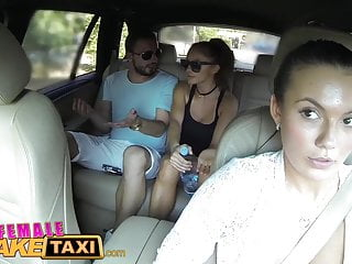 Big Cock Brunette video: FemaleFakeTaxi Brunette cabbie fucked doggy style