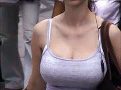 Candid Boobs: Slim Busty White Woman 5