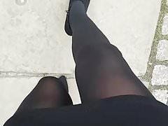 Walking in black pantyhose