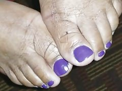 Cum Shot On Fat PURPLE Toes
