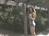 Brunette flashes at public park & beach