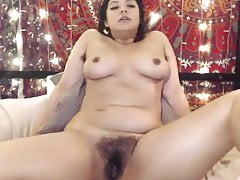 Moaning Brunette With Hairy Armpits And Pussy