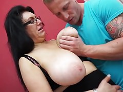 Big breasted mom fucking and sucking son