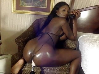 sexy black shemale plays with ass