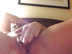 Horny Mature Rubs Her Big Clit Until She Cums