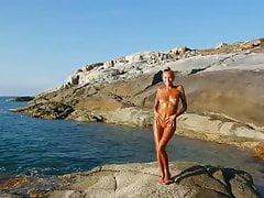 Młody rosyjski - taniec na plaży