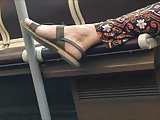 Candid Feet in the tram