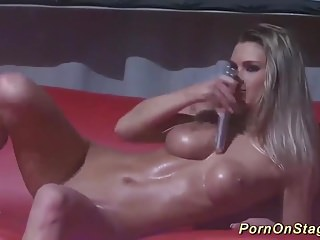 Masturbation Big Boobs Public Nudity video: busty babe naked on public stage