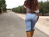 Walking jeans and boots