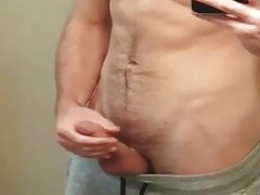 Str8 fit in front of the mirror with big cum