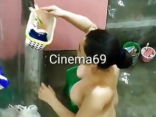Indian Brunette Big Ass video: Indian Girl Spied on while showering