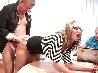 Hardcore Vintage Teen video: Two old Guys Fuck Teen with Glasses at Office - GERMAN RETRO