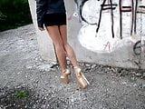 My legs in body pantyhose and Golden Heels 20 cm