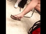College Class Candid Feet in Flip Flops