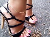7 Black strappy high heel sandals made of sexy cork.