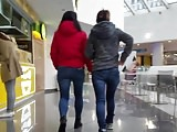 Two girl's asses in jeans