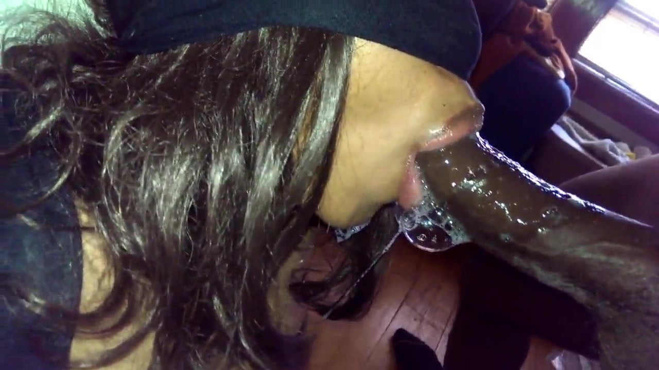 Ebony Sloppy Blowjob Car