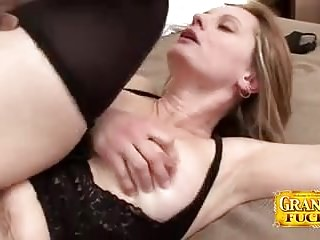 Interracial Grannies Creampie video: Creampied Granny Magda