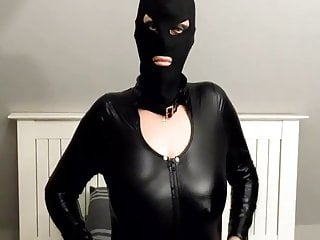 Latex Dildo Mask video: Latex PVC catsuit and mask