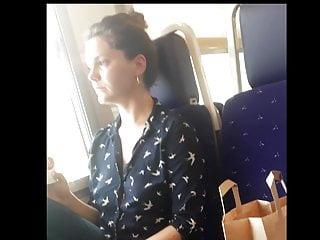 Tits Voyeur European video: Braless cutie on the train