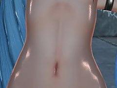 MMD modré vlasy Cutie propíchnuté bradavky sexuální hračky Anal GV00185