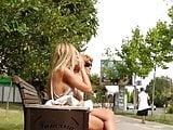 Sideboobs of Blonde Girl in Public