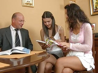 Skinny Cumshot Teacher vid: Tricky Old Teacher - Polina and Ksenia