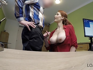 Blowjob Big Tits Redhead video: LOAN4K. Red-haired beauty has dirty sex for cash for pet