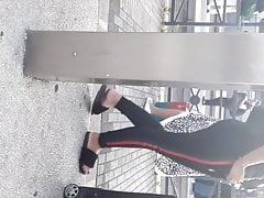 Candid Arabic sexy Red toes sandale Gare Tramway