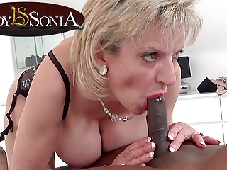 British Lingerie Massage video: Lady Sonia giving a massage and blowjob to a BBC
