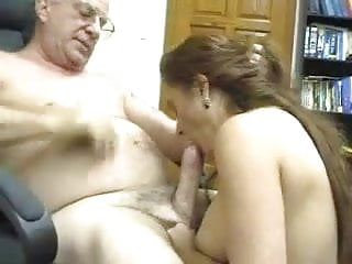 Young girl sucking a older men