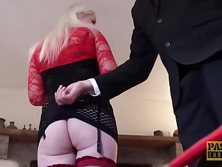 British Stockings Bdsm video: English subslut gagging on maledom cock and getting slammed