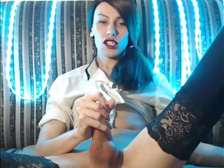 Lingerie Shemale Hd Videos Big Cock Shemale video: Messy, Messy, Lick Up That Cum