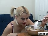 Sexy Nadia eats cereal filled with sexy soldiers