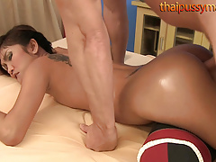 Horny Thai nympho gets a massage and a hard dick
