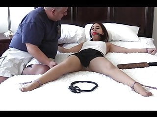 Spread eagled girl tickled