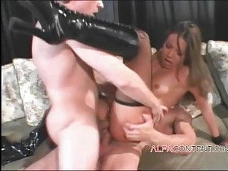 Asian slut double penetrated with sex toy and 2 hard cocks