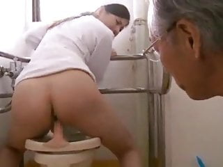 Japanese hot granpa with young girl